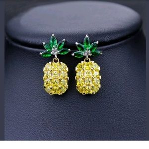 Jewelry - Yellow Pineapple Crystal Bling Earrings